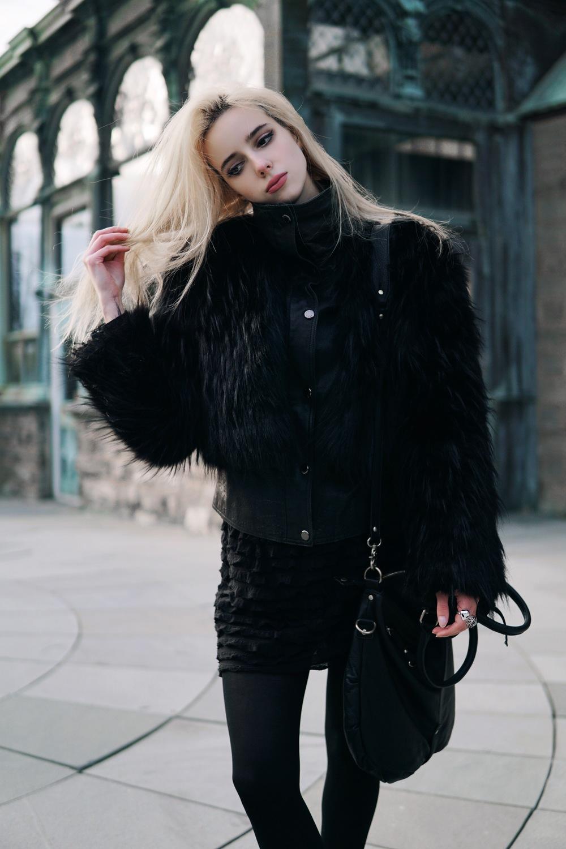 jacket: n/a | faux fur coat: disturbia | bag: urban outfitters | skirt: free people | boots: free people | alien ring: disturbia
