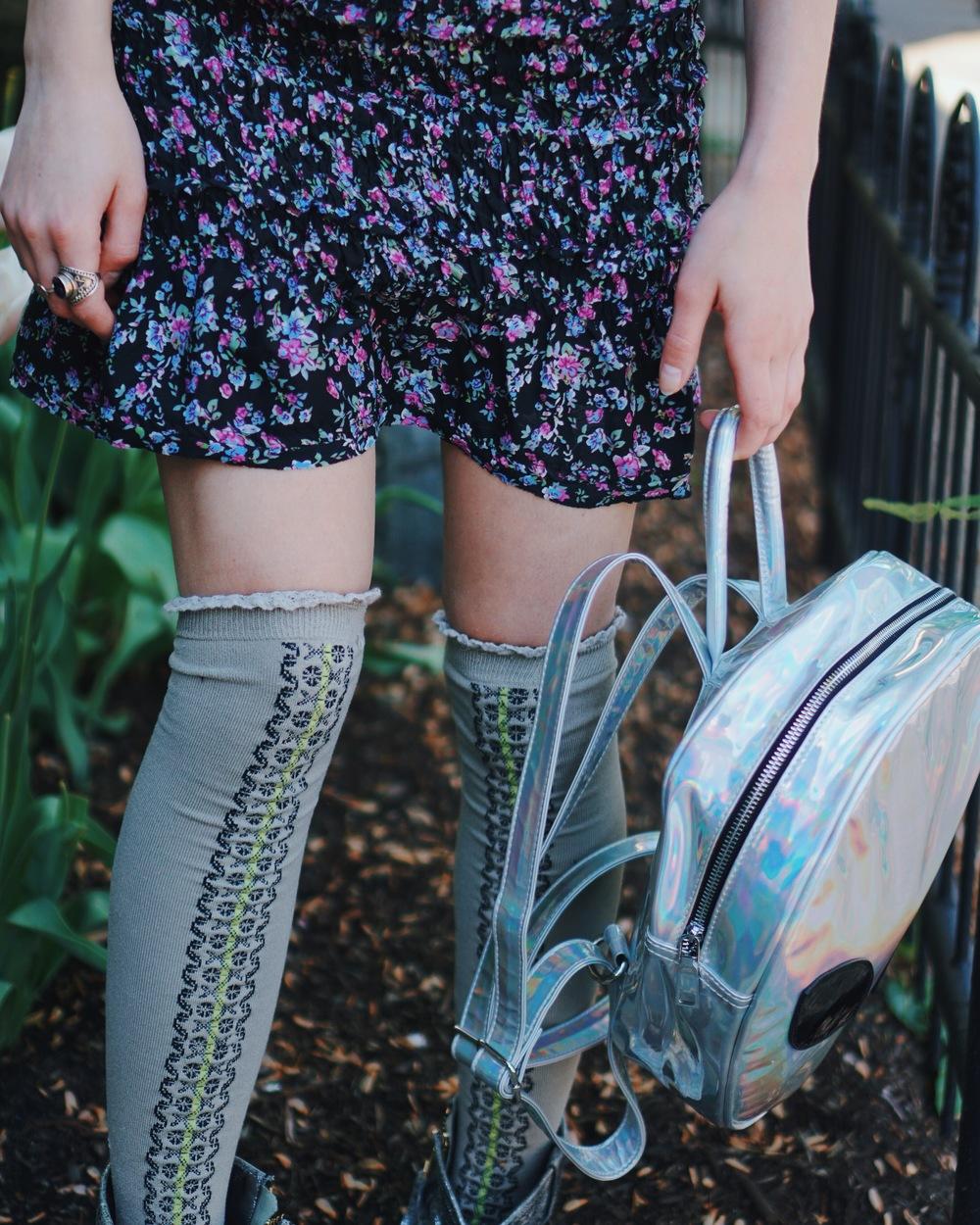 dress: free people | choker: dollskill | backpack: disturbia | thigh highs: free people | boots: free people