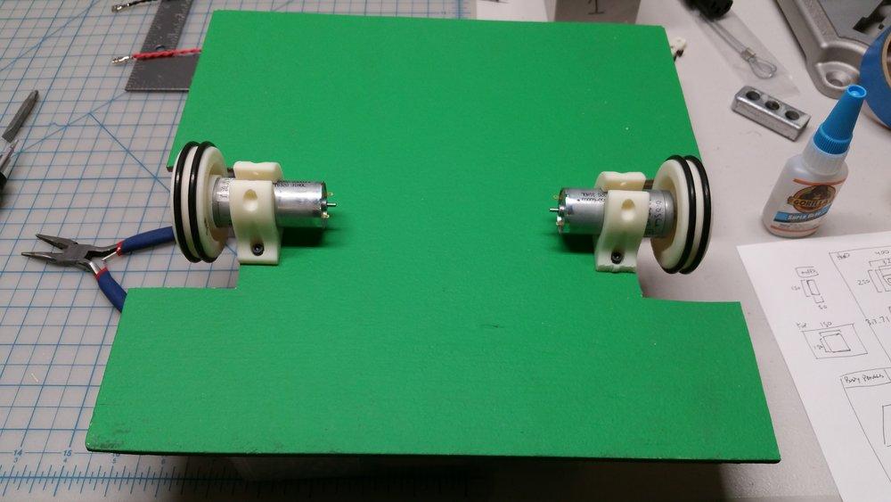 Motors and motor mounts tested on platform.