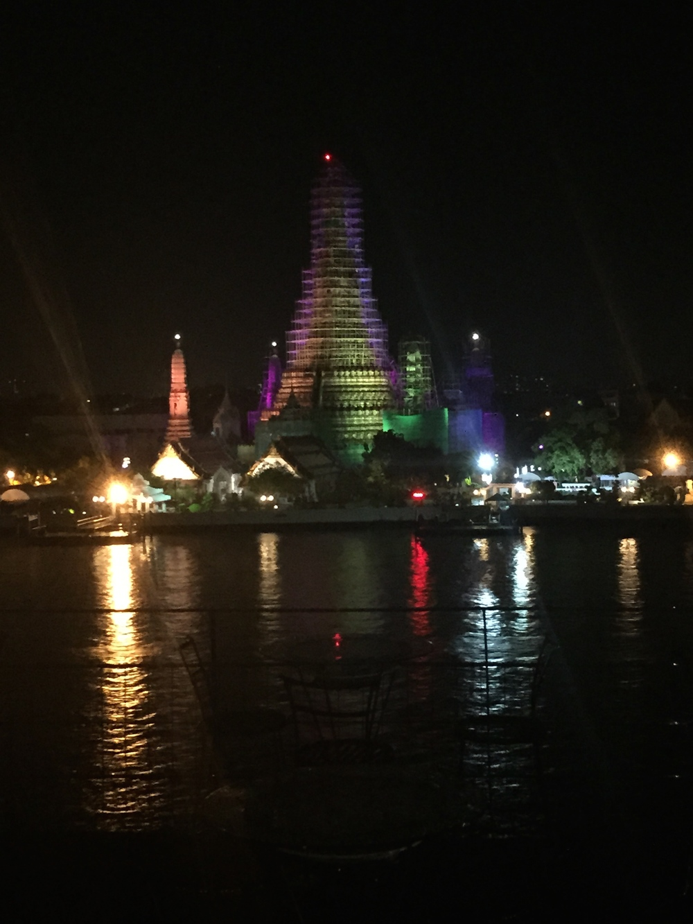 Wat Arem (one of the main attractions in Bangkok but it is under construction and covered in scaffolding.  Luckily the night view hardly shows it!)