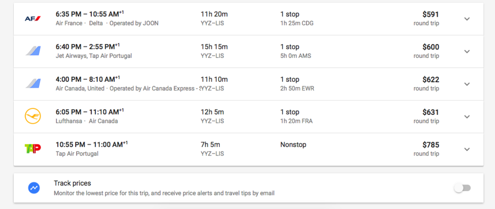 YYZ to LIS Options.png