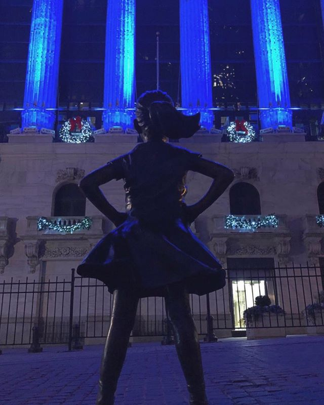 The Fearless Girl in her new home right across the street from work, now I get to see her every morning and evening!  #fearlessgirl