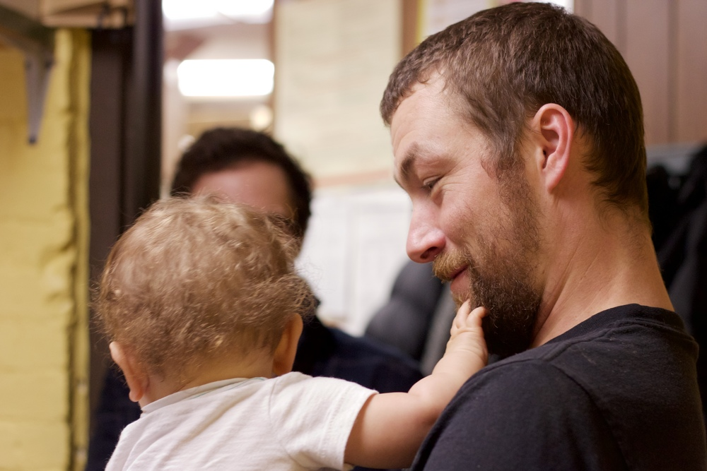 Owner and Head Roaster, Jesse Darrow with his son, Timbre.