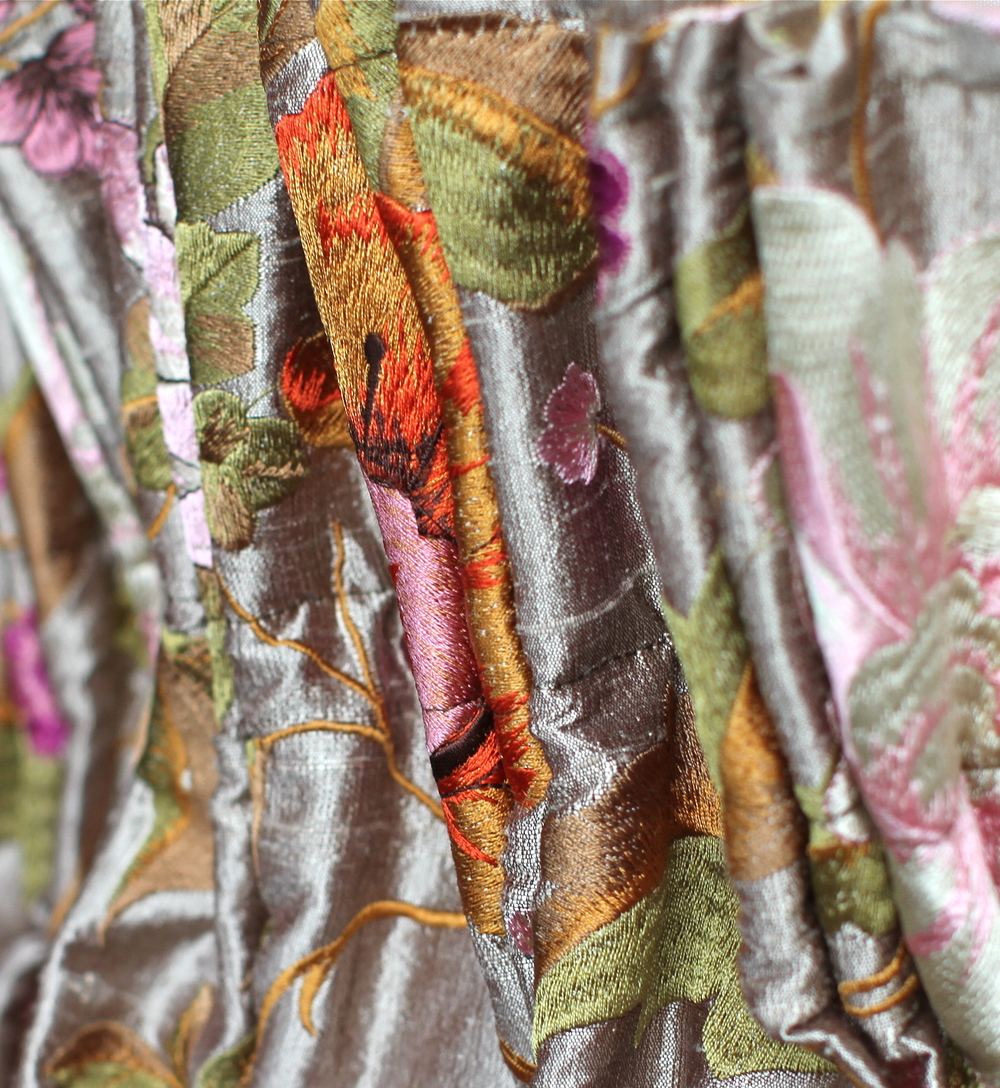 Silk Embroidery Best of Boston Fabric. Home Decor. Best of North Shore