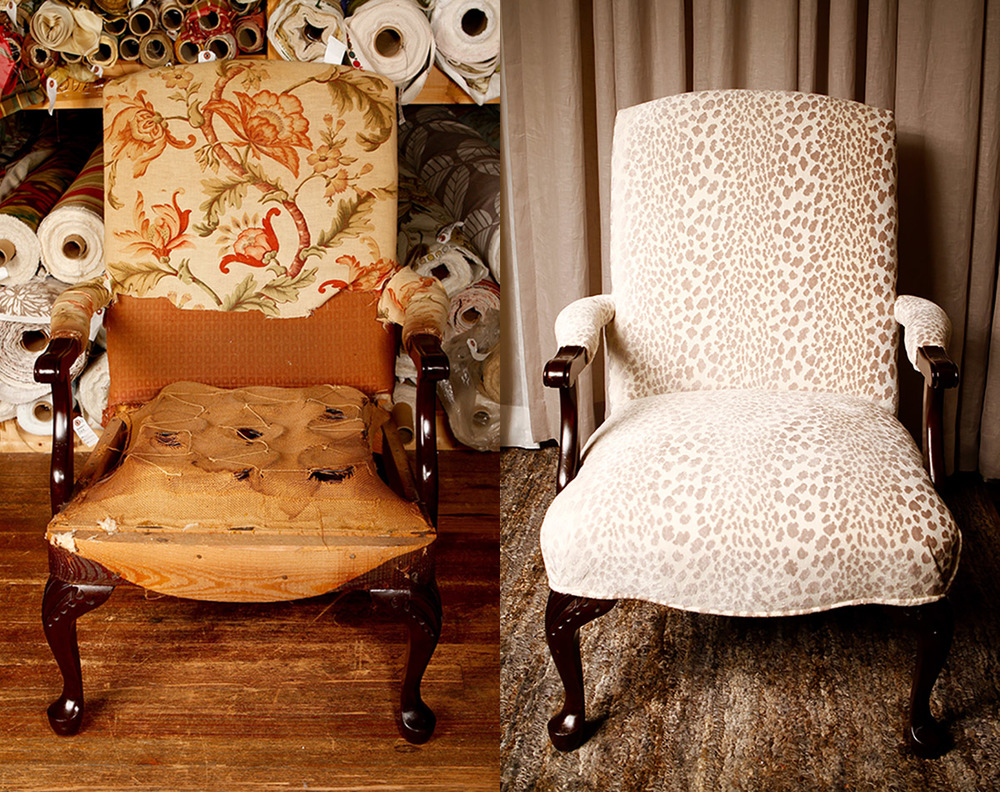 Before:   This vintage chair was beautifully crafted but had seen better days.   After:   Updating its original frame and applying leopard cut velvet grospoint fabric, Zimman's transformed this chair into a seat worth saving!
