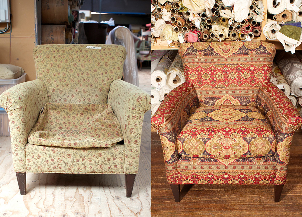 Before:   We hate to bring it up but – the hidden style and cushioning had us thinking deflategate…   After:   Touch down! Zimman's helped this classic armchair bounce back with a rich tribal paisley fabric from a top domestic weaver.