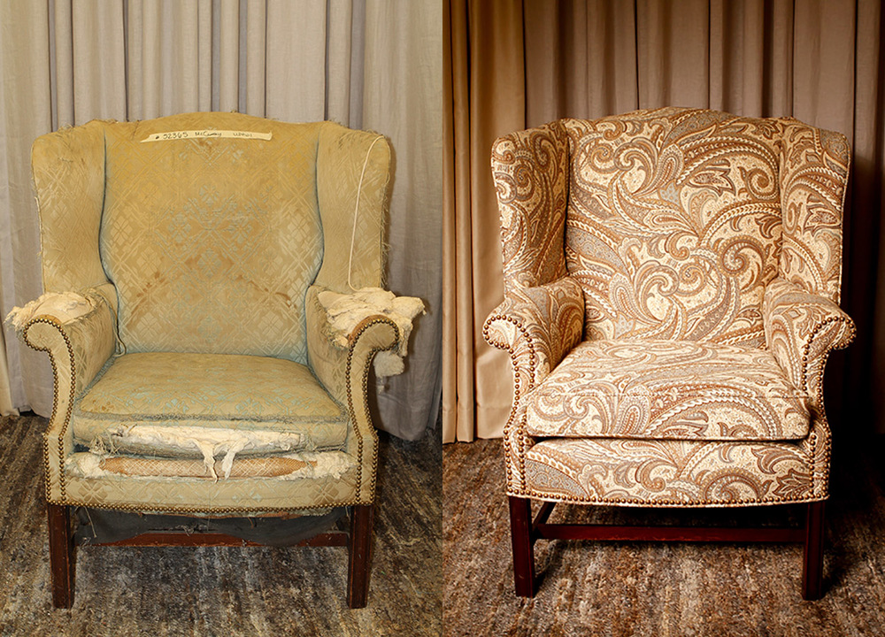Before:   This wingback chair sported nailhead trim and a stretcher bar when it was originally crafted.   After:   Now, this chair has a bright future with a more sound structure – and dons a gorgeous paisley fabric from a high-end domestic mill.