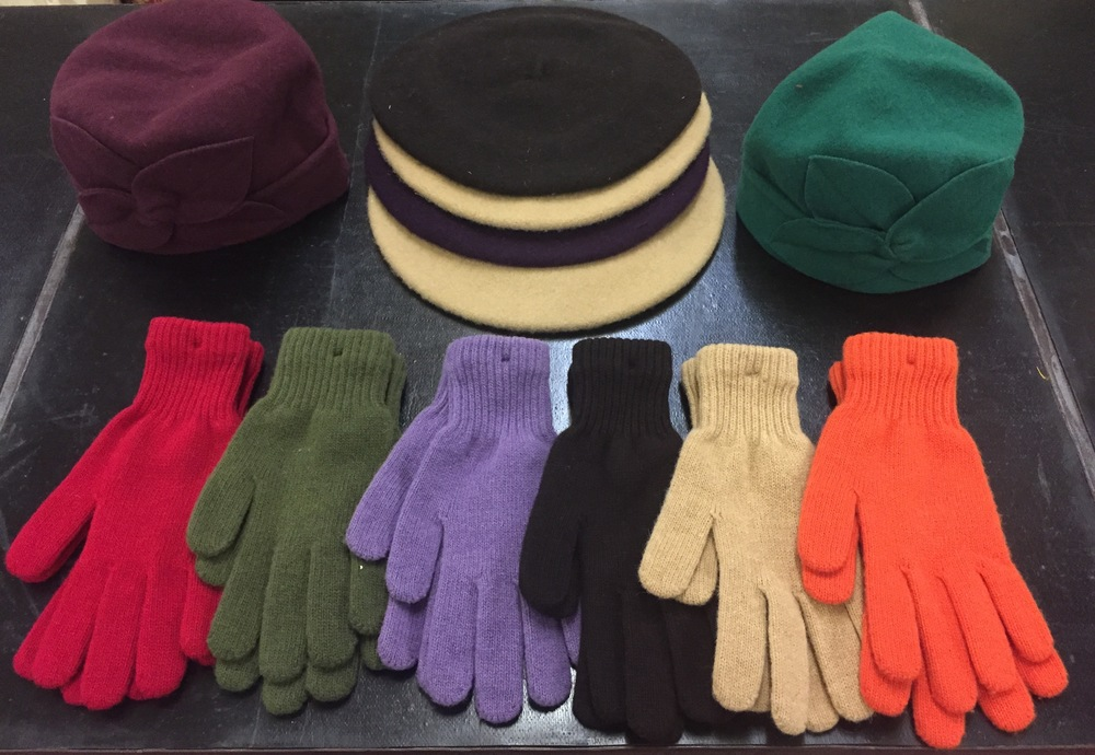 Wool Gloves, Beret and Cloche Hats