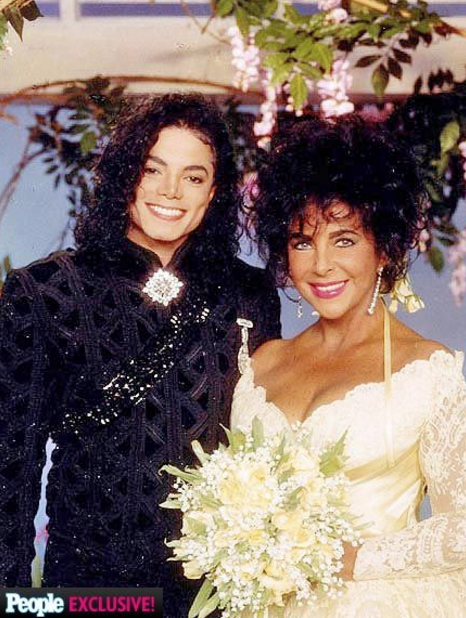 Elizabeth Taylor's wedding image with friend Michael Jackson holding a beautiful Bouquet