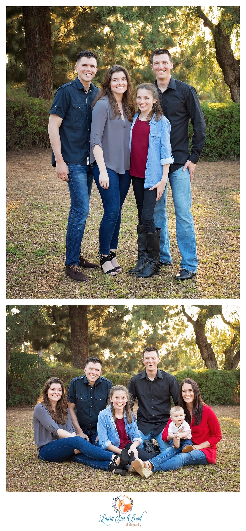 Portraits - Siblings. The McNamara Family. Family session at park during golden hour in Costa Mesa, California. Laura Sue Brod Photography - 2016  www.laurasuebrod.com