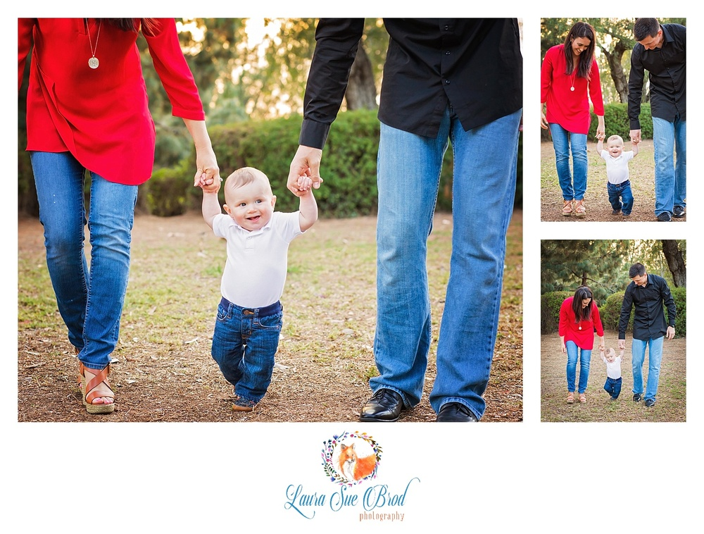 Little boy walking with mom and dad. The McNamara Family. Family session at park during golden hour in Costa Mesa, California. Laura Sue Brod Photography - 2016  www.laurasuebrod.com