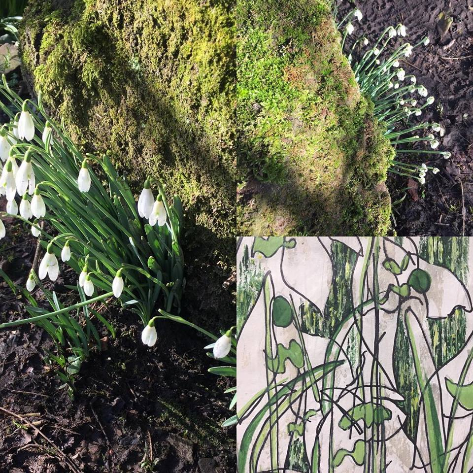 Snowdrops and a detail of my 2018 painting … what will I do this year?