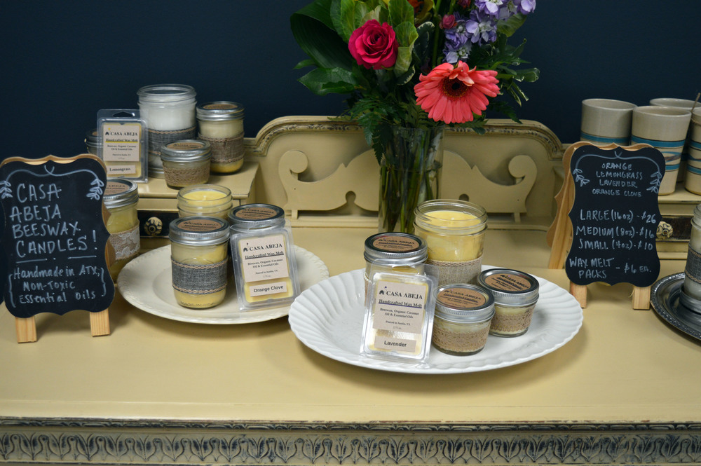 Casa Abeja sells handcrafted (local) beeswax candles in lovely mason jars. Candles are scented with essential oil- choose from lemongrass, lavender, orange, and orange clove!