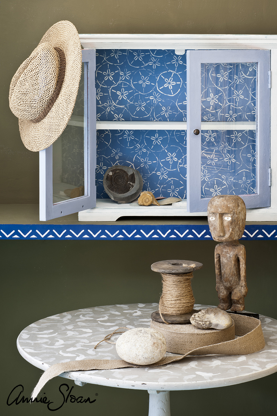 Fish, Sand Dollar and Valeska Stencil, Coastal room, Napoleonic Blue, Greek, Country Grey.jpg