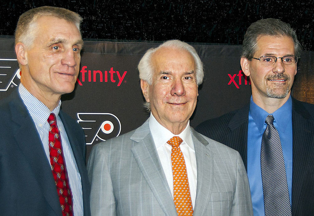 File Photo: Ron Hextall with Paul Holmgren and Ed Snider in 2014. Source