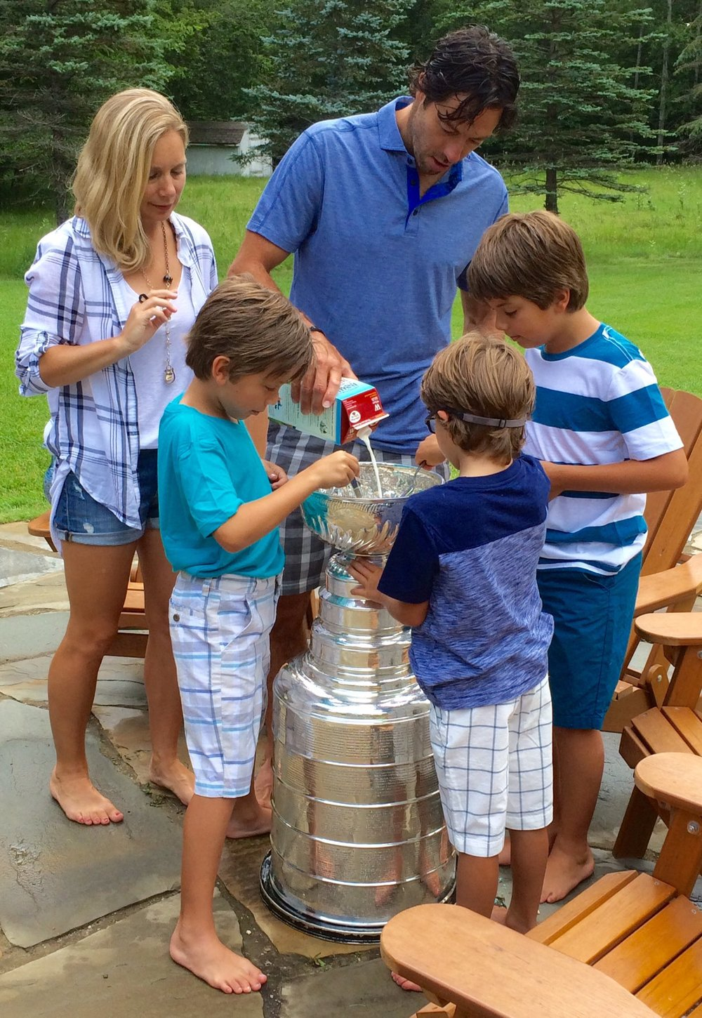 Matt Cullen's sons enjoying their sixth bowl of cereal before the Cup had its first extreme reaction to lactose. Source