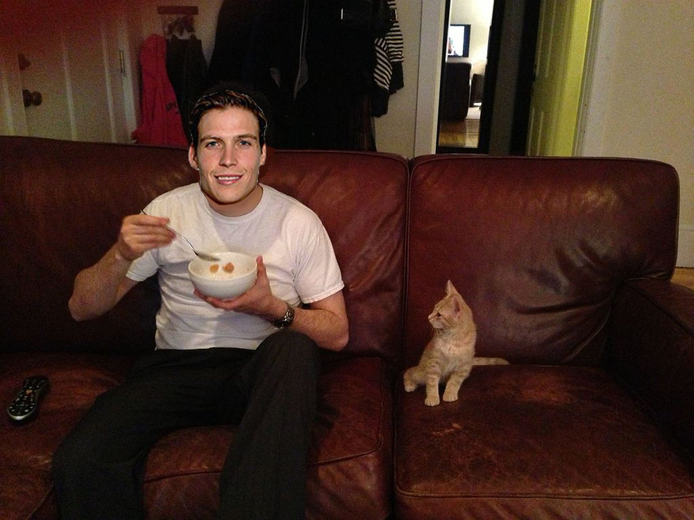 Beau Bennett this morning with his cat Allan.  Original source