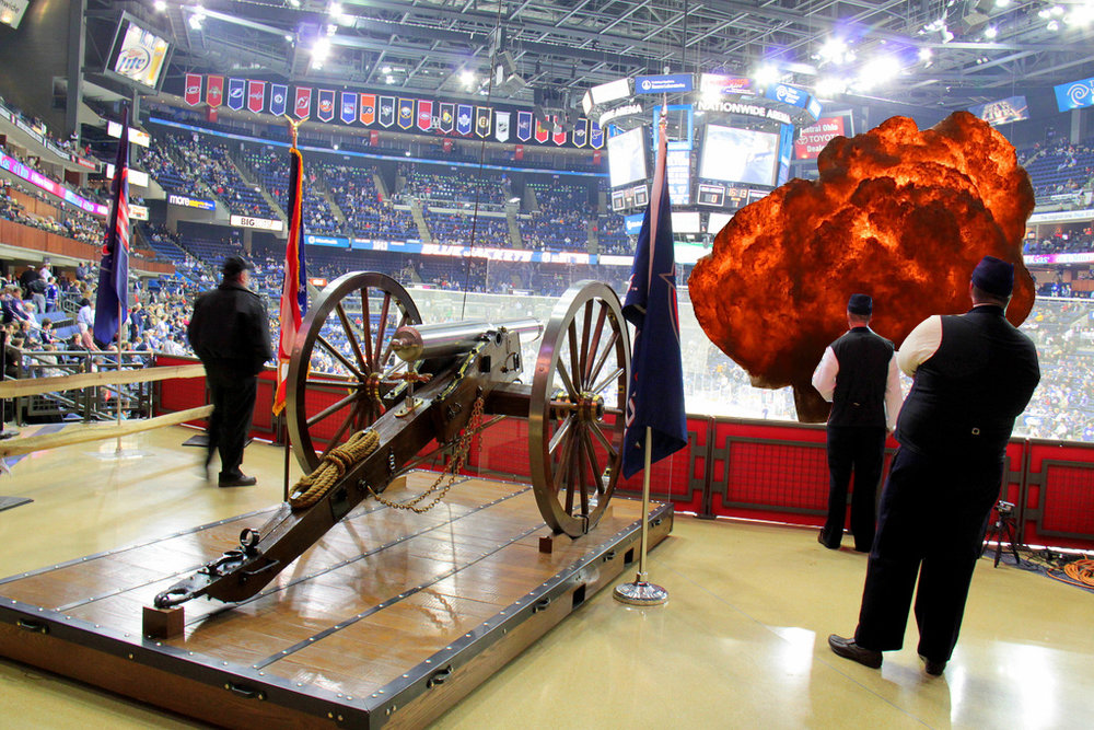 The scene in Columbus as the cannon fired live rounds into the crowd.  Image source  (changes made)