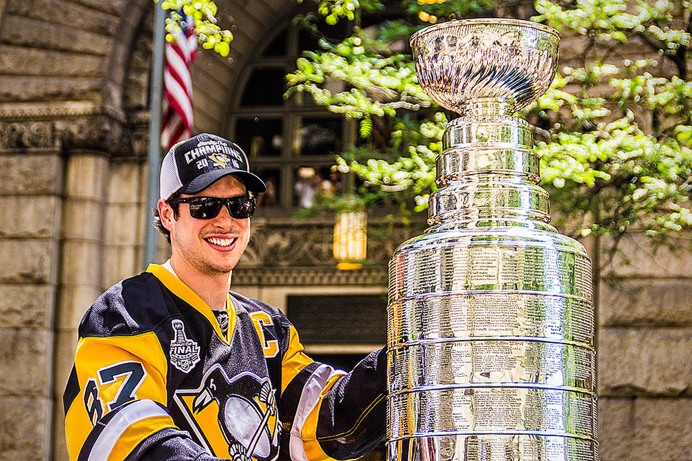 Crosby at last summer's Stanley Cup parade. Source