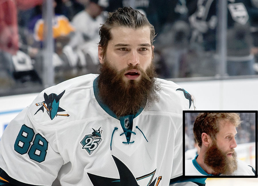 Brent Burns, left, and Joe Thornton, inset.  Source