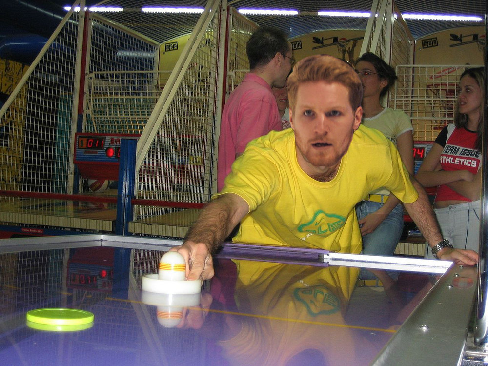 Avalanche captain Gabriel Landeskog has his game face on during warmup in a recent air hockey match. Image sources: Cristina Ruiz, Kerri Polizzi
