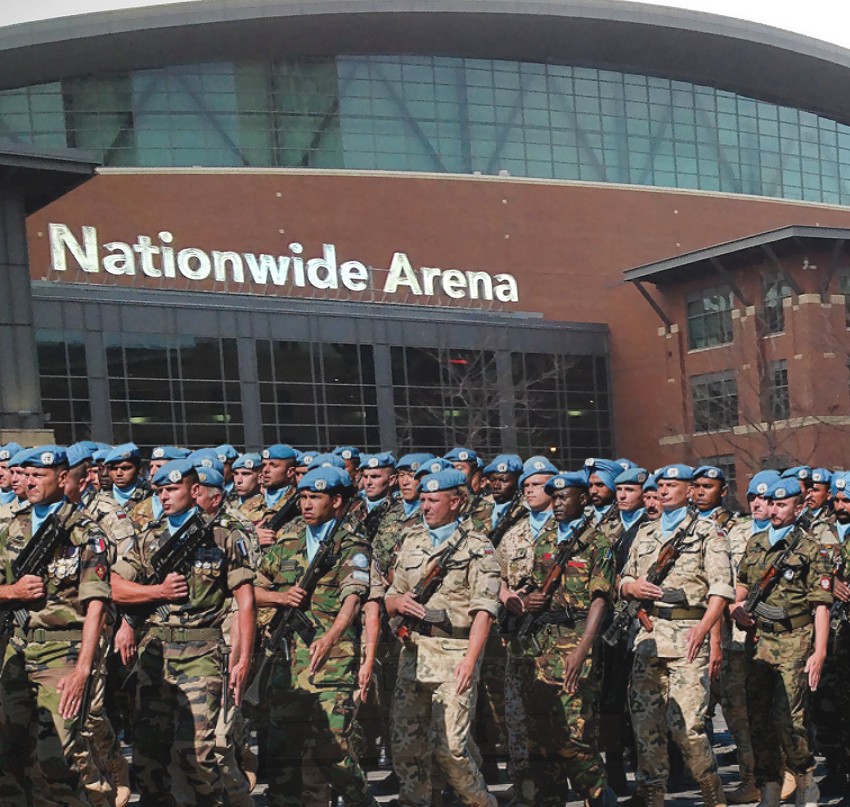 The UN began deploying peacekeepers to Nationwide Arena on Monday afternoon. Image sources:  Robert Batina  &  Marie-Lan Nguyen