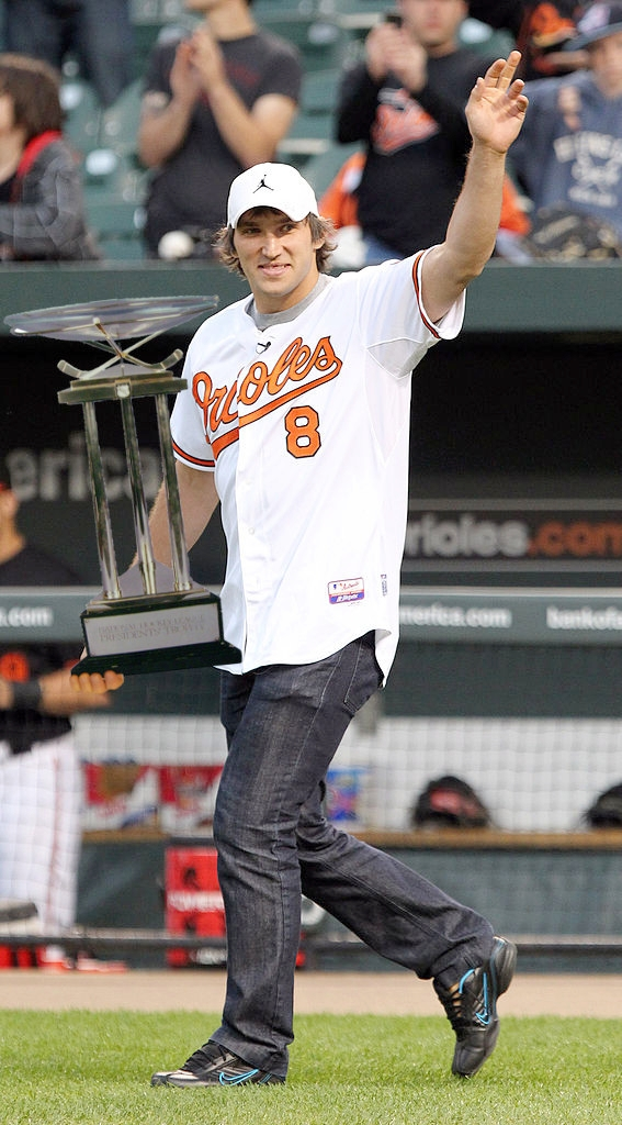 Alex Ovechkin shows off his team's hardware at a Baltimore Orioles game last week. Image source:  Keith Allison  &  Alaney2k