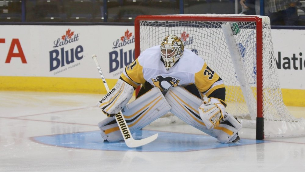 Niemi doing his best impersonation of a professional hockey player earlier this season. Image source:  Pittsburgh Penguins twitter