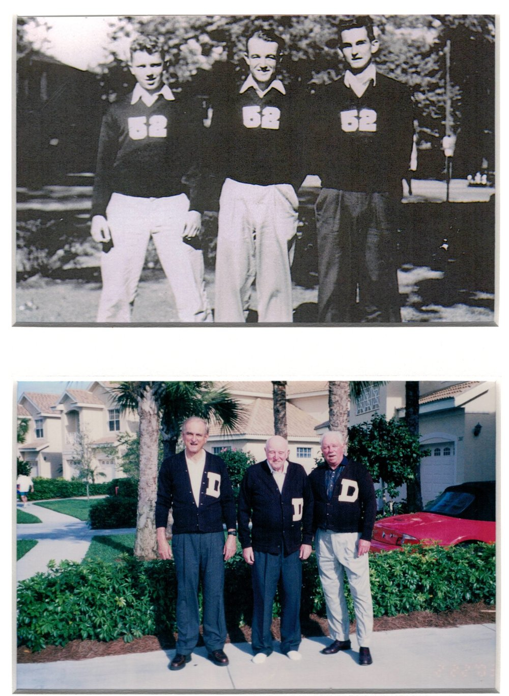 Top photo: Don Bren, Zeke Ellis and Irvin Harlamert pose in their athletic sweaters with their graduation year, 1952. Bottom photo: Harlamert, Zeke and Don. --- photo courtesy of Harlamert