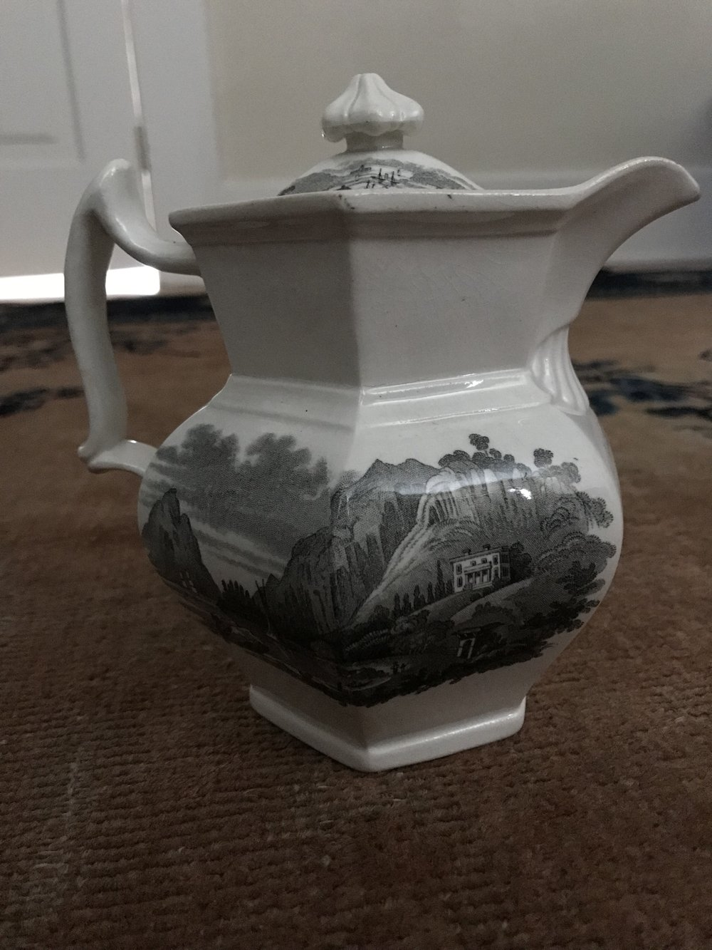 """Undercliff near Cold Spring"" on a chocolate pot."