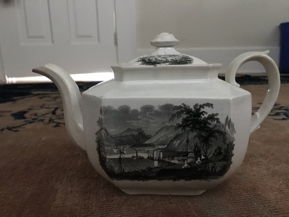 """View from Ruggles House, Newburgh, Hudson River"" on a teapot."