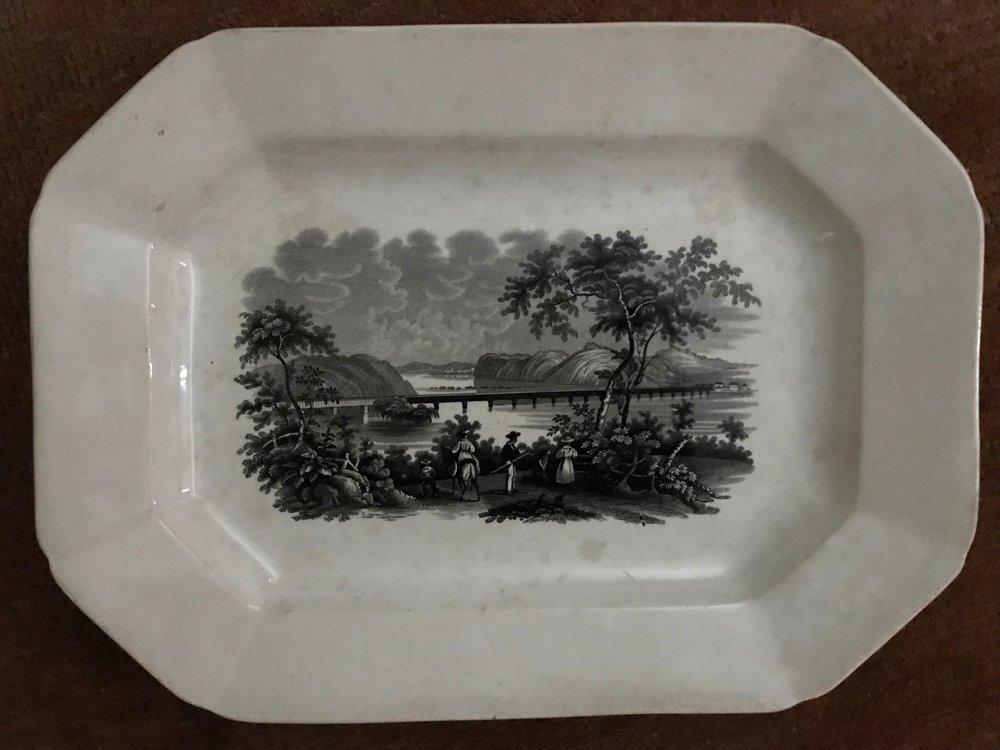 """Columbia Bridge on the Susquehanna"" on a platter."