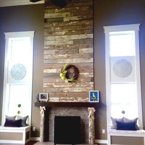 Barn Wood Fireplace Wall
