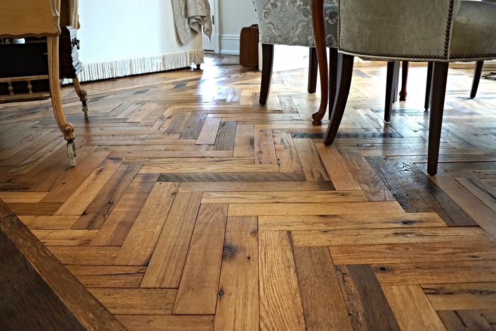 Captivating Reclaimed Herringbone Flooring Real Antique Wood