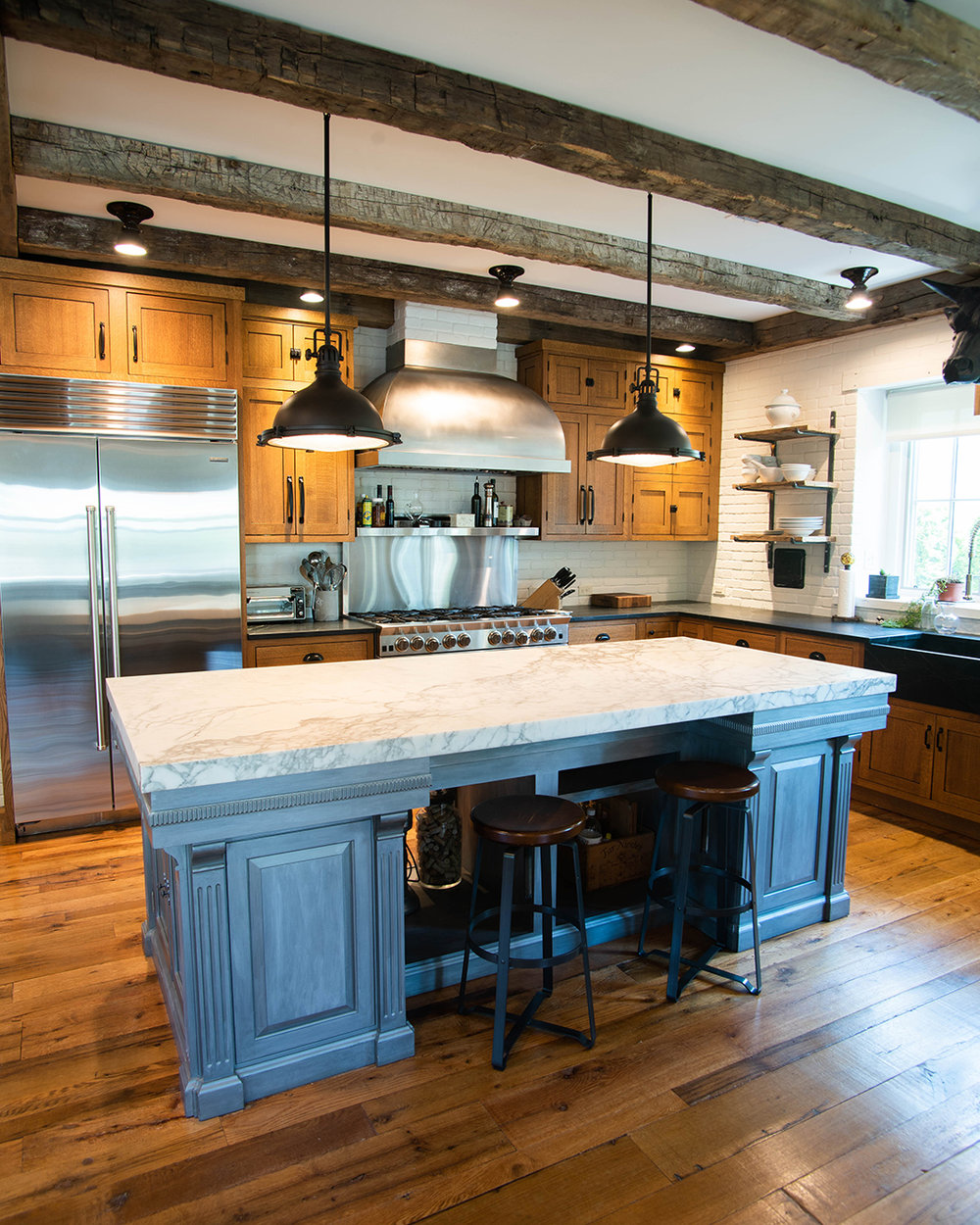 American Classic Flooring with Reclaimed Beam Skins