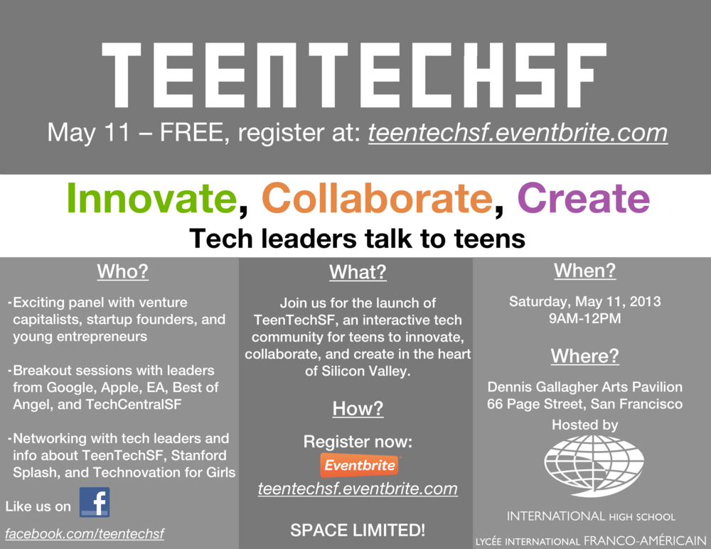 "TeenTechSF@IHS Launch ""Innovate, Collaborate, Create: Tech Leaders Talk to Teens"""