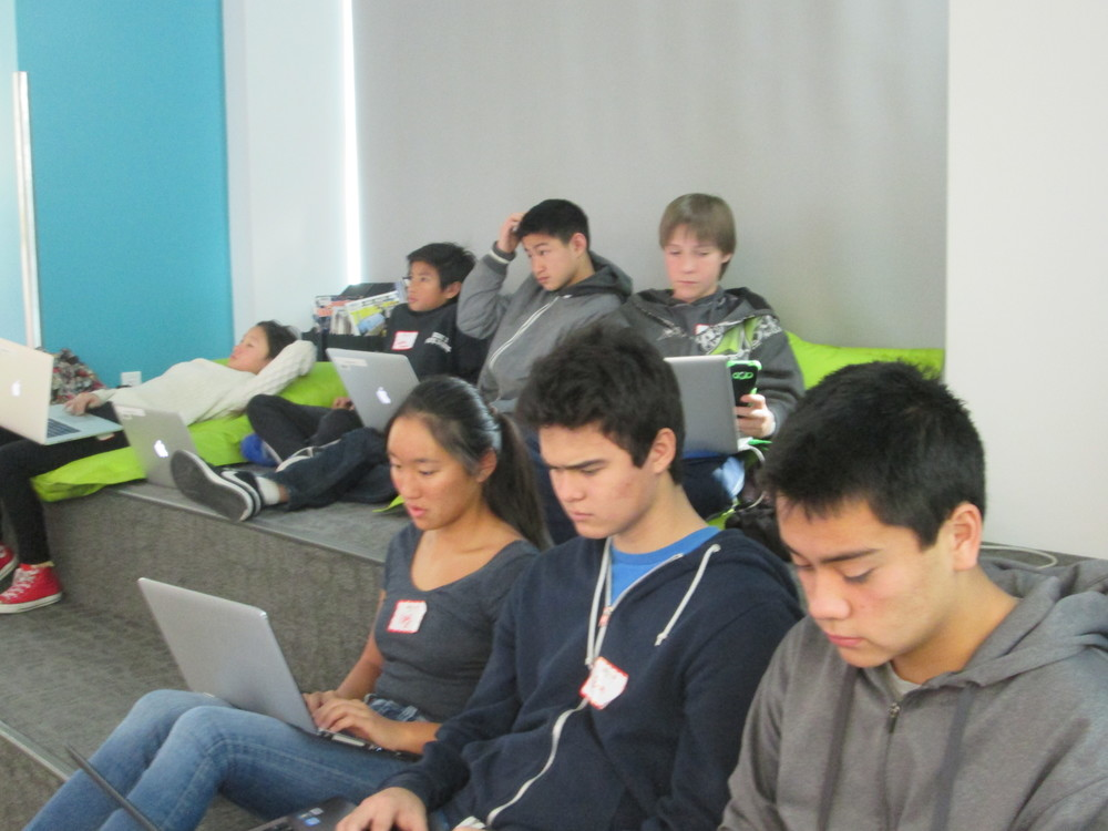 Student hackers intent on learning coding on a Saturday morning