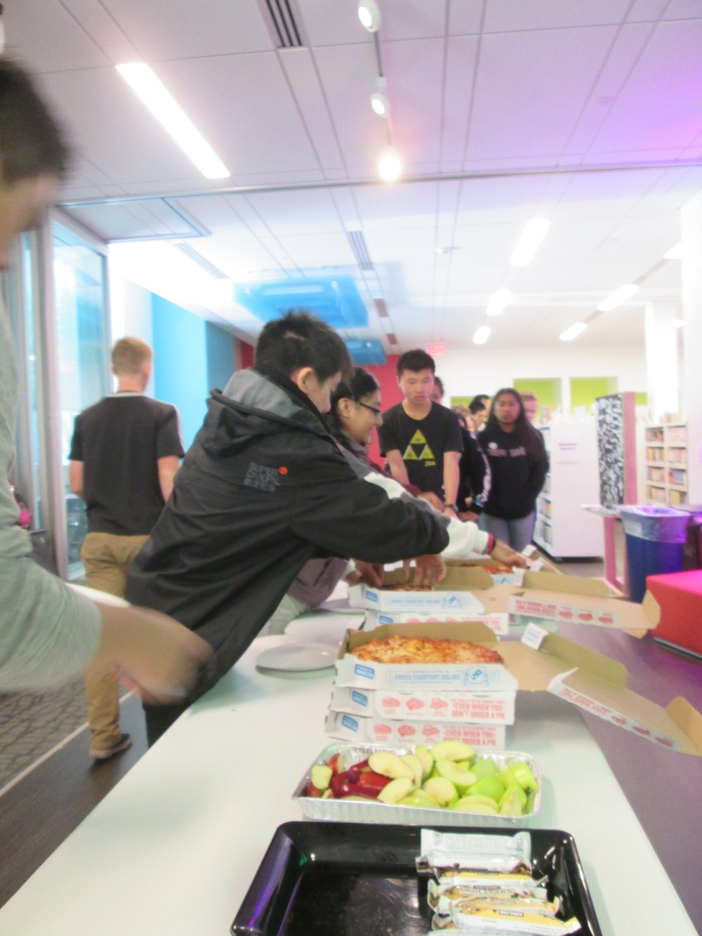 Sunday lunch: fueling innovation with pizza, apple slices, and Rice Krispie treats