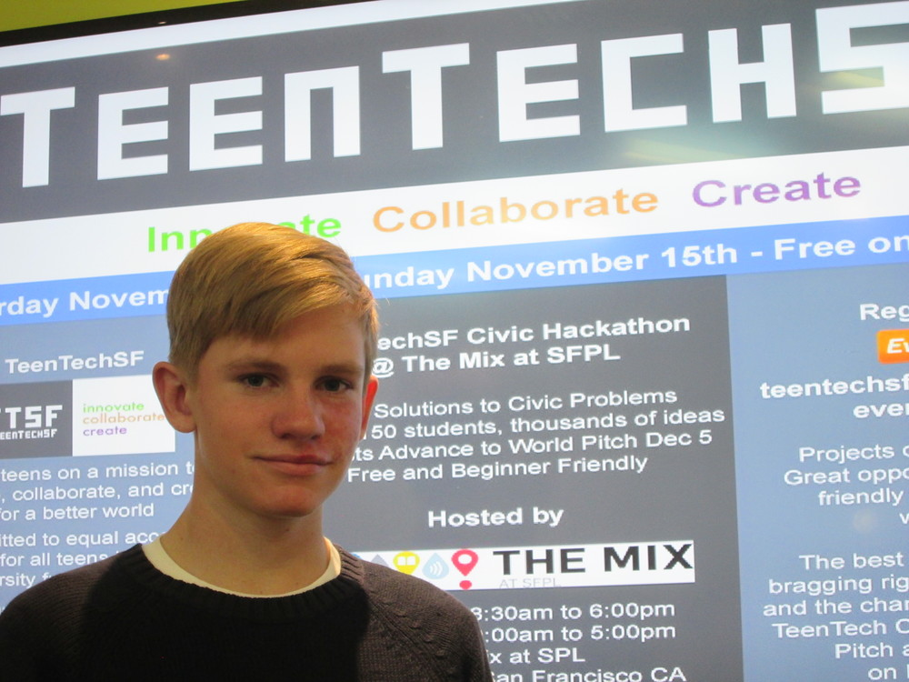 TeenTechSF leader Conor Fay getting ready to live tweet the TeenTechSF Civic Hackathon pitches!
