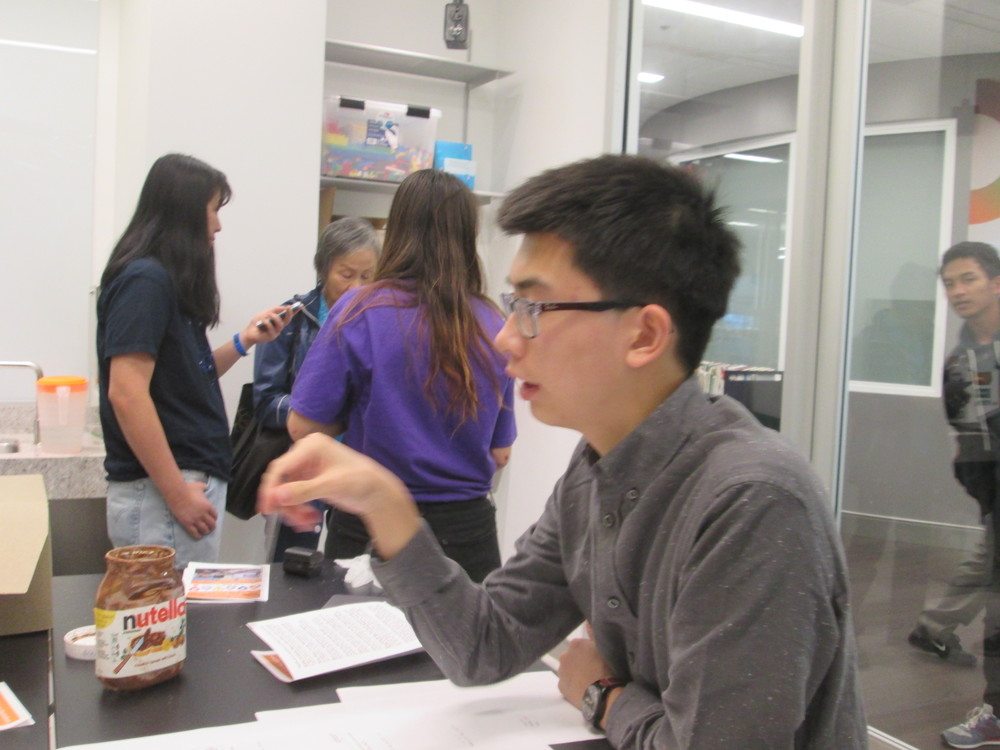 Debating the merits of project pitches to select finalists, UC Berkeley judge Austin Tsang