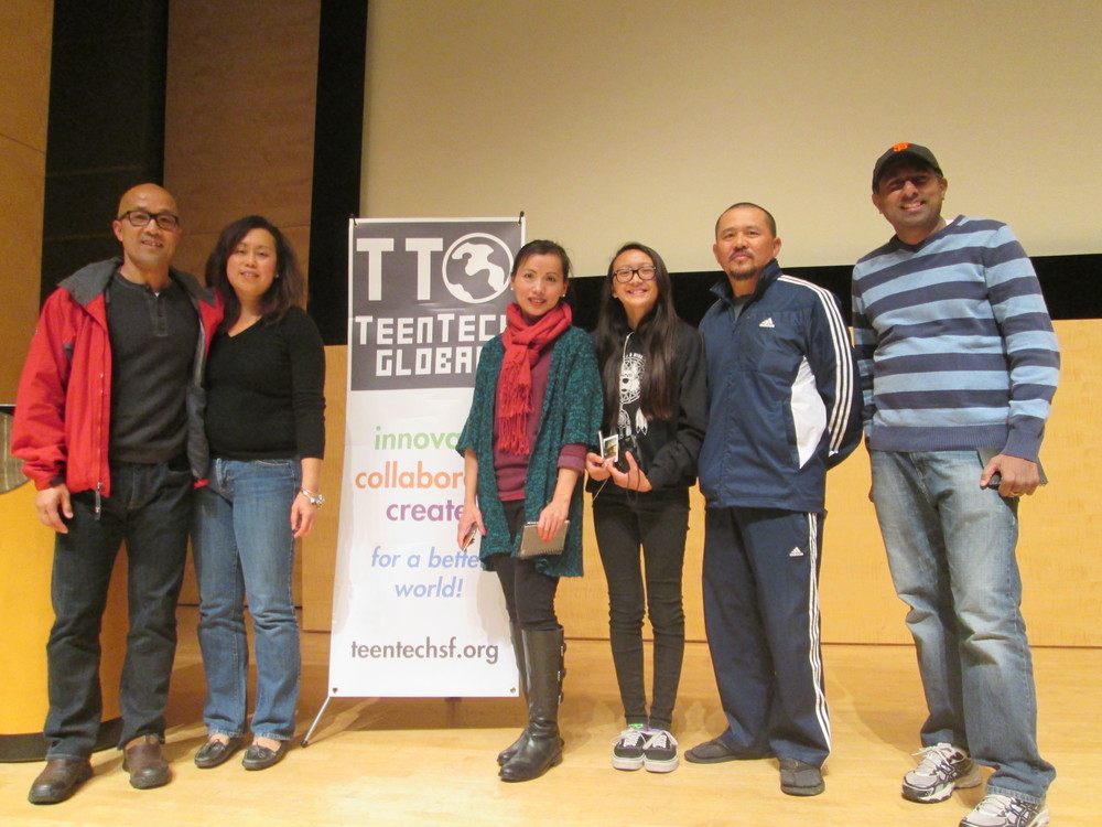 Proud parents of winning team at the TeenTechSF Civic Hackathon @TheMixatSFPL