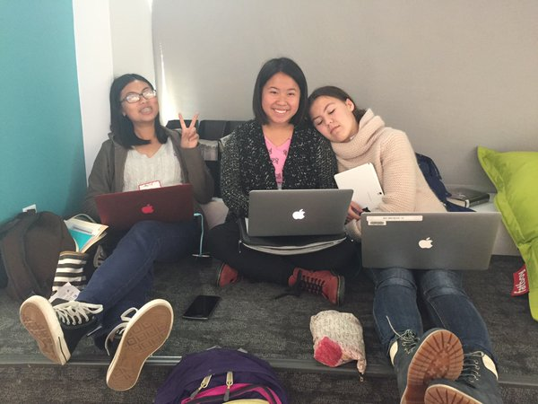 Student hackers Erica Kong & Anna He from SF Youth Commission with Polina Florova, SFPL BAY leader