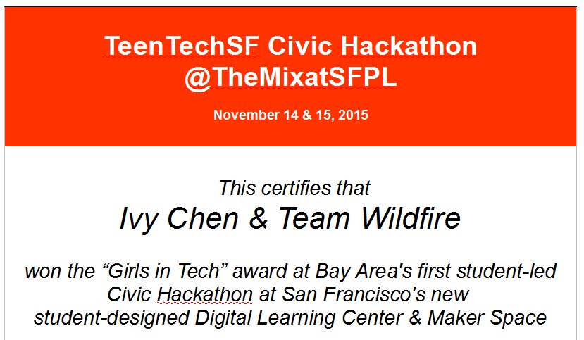 Best female hacker: Ivy Chen, Cupertino HS, & Project Wildfire