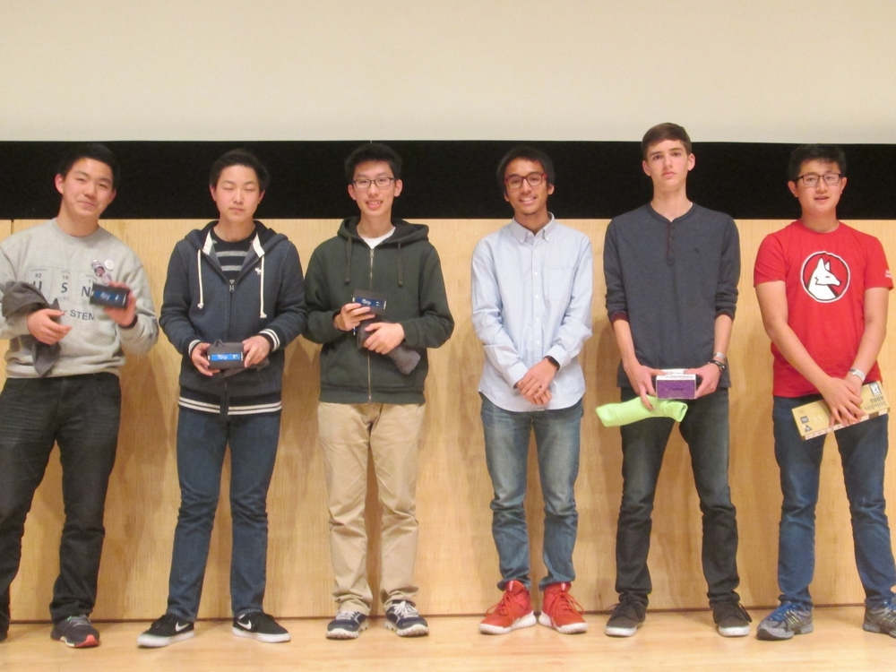 Finalists: Ronald Liu, Jimmy Qiu, Robert Shi, Ben Ha, Alex Shortt, and TeenTechSF Founder Marc Robert Wong