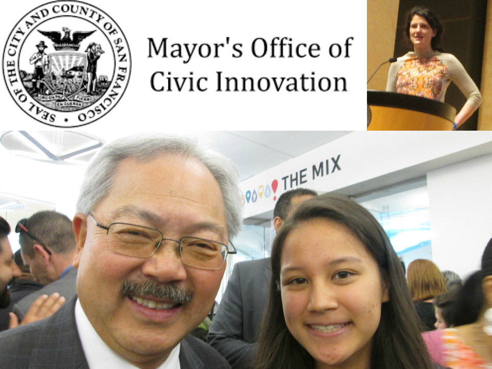 San Francisco Mayor Lee, TTSF GLOBAL Mentor Emilie Robert Wong, and Krista Canellakis from the Mayor's Office of Civic Innovation at the TTSF Civic Hackathon @ The Mix at SFPL