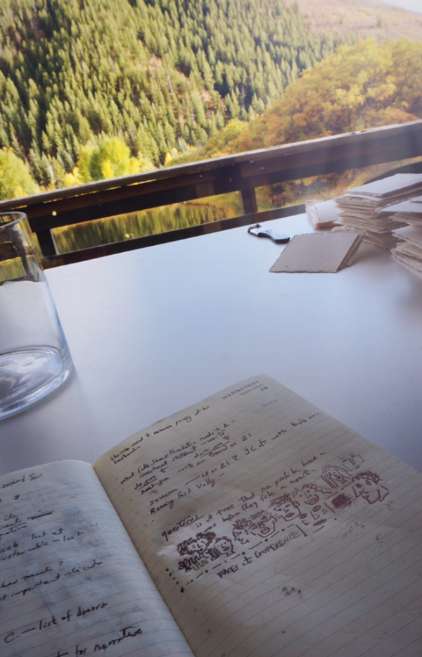 Journal sketches and writing in the studio.