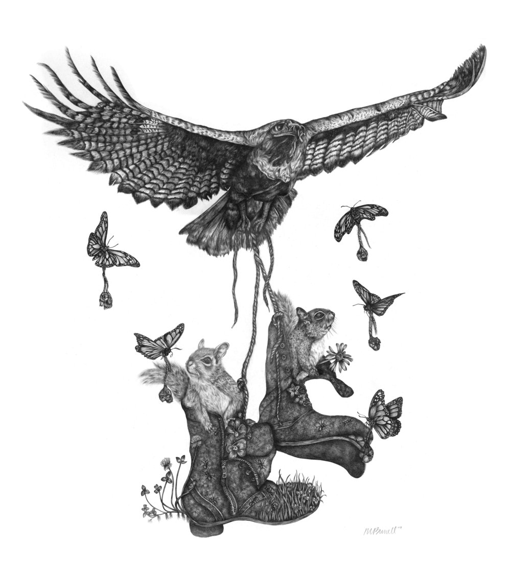 """""""Cooper, Flight to Chesapeake"""" is a 32"""" x 32"""" graphite drawing completed in 2017 as part of the Migration Series."""