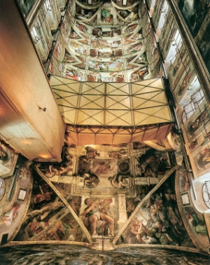 A modern variation of a similar design used in the recent restoration of the Sistine Chapel ceiling.[2]