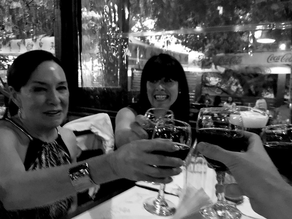 At the restaurant that first night, toasting to the beginning of our adventures together! That's Patrice's mom, Pat, on the left (she's based in the U.S. and had already been visiting with her daughter for a few weeks) and Patrice on the right. And, er, Tom's hand in the foreground!