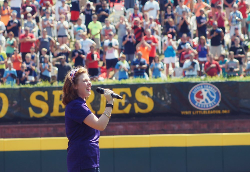 "Performing the ""Star Spangled Banner"" at the Little League World Series in Williamsport, Pennsylvania in August."